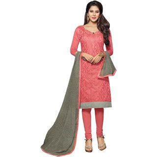 Peach Dress Material with Matching Dupatta