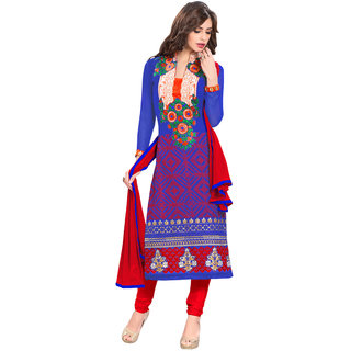 Aaina Blue Georgette Embroidered Dress Material For Women