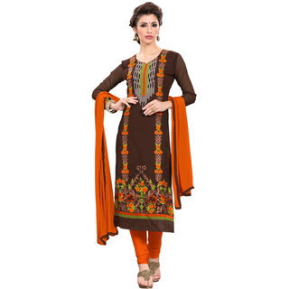 Aaina Brown Orange Georgette Embroidered Dress Material For Women