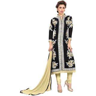 Aaina Black Georgette Embroidered Dress Material For Women