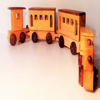 WOODEN TRAIN WITH 3 BOGEE AND ENGINE