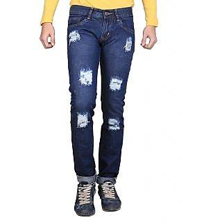 Ave Blue Cotton Monkey Wash Damage Jeans For Mens