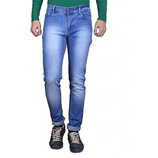 Ave Blue Cotton Monkey Wash Round Pocket Jeans For Mens