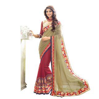 Elevate Woman Red  Cream Zari Embroidery work with Lace border Fashion Georgette Sari