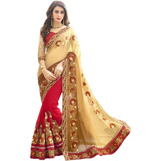 Elevate Woman Maroon  Cream Zari Embroidery work with Lace border Fashion Georgette Sari