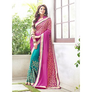 Elevate Woman Pink  Sky Blue Zari Embroidery work with Lace border Fashion Georgette Sari