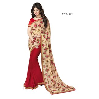 Sasural Women Pink Georgette Printed Saree