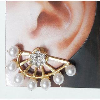 Hot selling new golden 7 Pearl Crystal Ear Cuff Stud Earrings double sided girls