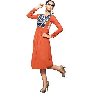 Lovely Look Orange Embroidered Stitched Kurti LLKKFKSRFIR5108AL