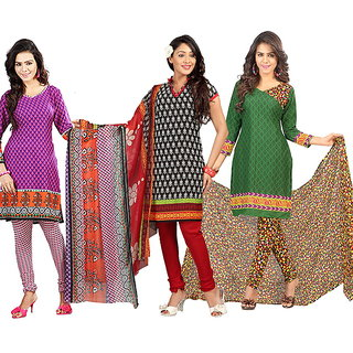 Lookslady Multicolor Crepe Printed Salwar Suit Dress Material (Pack of 3)