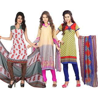Lookslady Multicolor Crepe Printed Salwar Suit Dress Material (Pack of 3)