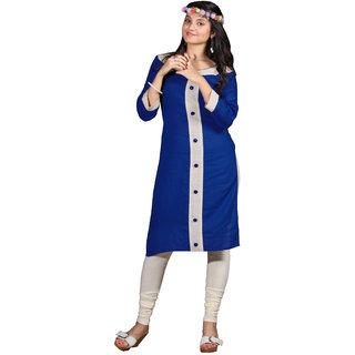 Parisha Blue Plain Cotton Stitched Kurti