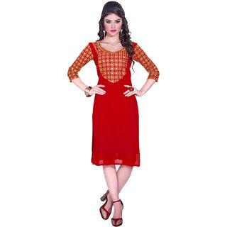 Parisha Red Embroidered Georgette Stitched Kurti