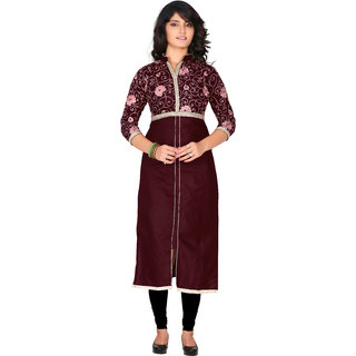 Parisha Maroon Embroidered Cotton Stitched Kurti