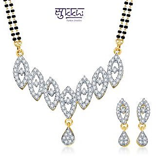 Sukkhi Youthful Trendy Gold and Rhodium Plated CZ Mangalsutra Set