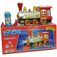 Battery Operated Bump N Go Light Sound Bubble Shooter Train Engine Toy For Kids