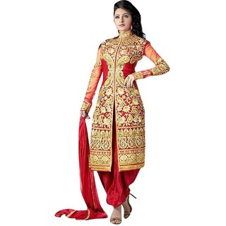 Clickedia Womens Faux Georgette Jacket Dress Material