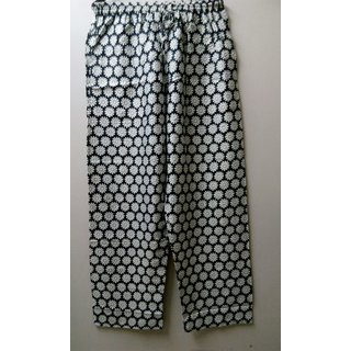 Womens Printed Cotton Casual Trouser (Black )