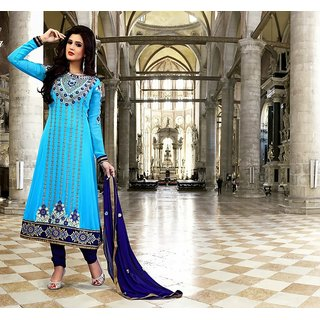 Neelfab Cyan Blue  Faux Georgette Anarkali Suit