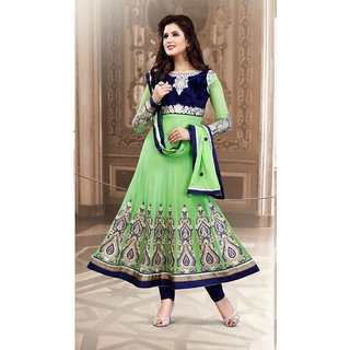 Neelfab Deep Mint Green, Royal Blue Faux Georgette Anarkali Suit