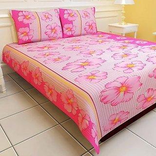 Carah Plain Polyester 400 Thread Count Double Bedsheet(1 Bedsheet, 2 Pillow Covers, Pink) (Set of 3)