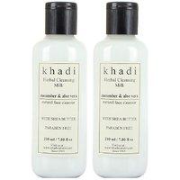 Khadi Cucumber and Aloevera Cleansing Milk Cream With Sheabutter, 210ml ( PACK OF 2 )