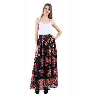 Raabta Black with Red Floral printed Long Skirt with Belt