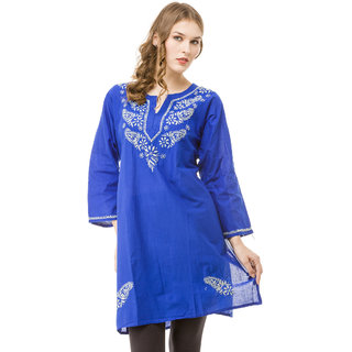 Saadgi Blue Lucknowi Chikankari Embroidered Kurta For Women