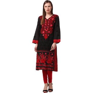 Saadgi Black Lucknowi Chikankari Embroidered Kurta For Women