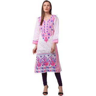 Saadgi White Lucknowi Chikankari Embroidered Kurta For Women