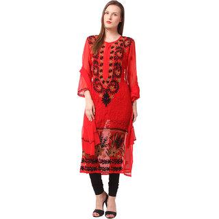 Saadgi Red Lucknowi Chikankari Embroidered Kurta For Women