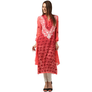 Saadgi Peach Lucknowi Chikankari Embroidered Kurta For Women