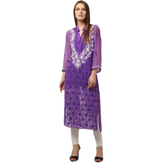 Saadgi Purple Lucknowi Chikankari Embroidered Kurta For Women