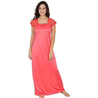 Klamottenn Peach Satin Long Nighty X10Peach available at ShopClues for Rs .325 6dcc55f34