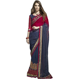 Indian Designer Blue and Blue embroidered georgette saree with blouse piece