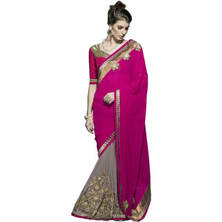 Designer Beige and Magenta embroidered georgette saree with blouse piece