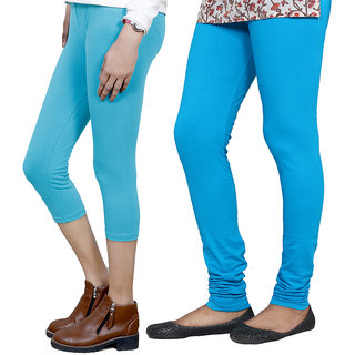 IndiWeaves Girls Blue Cotton Capri With 1 Legging (7180371045-IW)