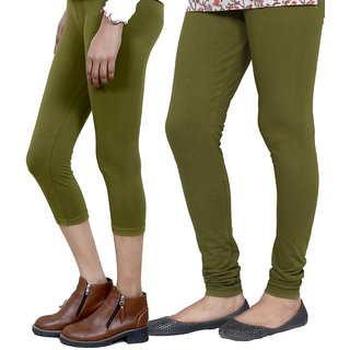 IndiWeaves Girls Green Cotton Capri With 1 Legging (7180871044-IW)
