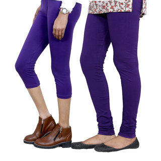 IndiWeaves Girls Purple Cotton Capri With 1 Legging (7181071038-IW)