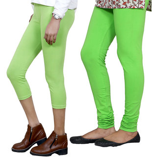 IndiWeaves Girls Green Cotton Capri With 1 Legging (7181171037-IW)