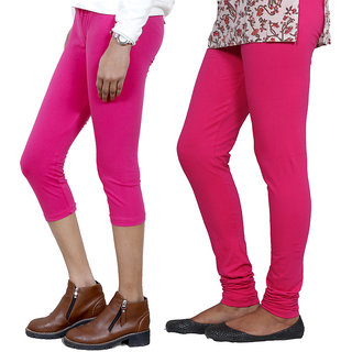 IndiWeaves Girls Pink Cotton Capri With 1 Legging (7181271030-IW)