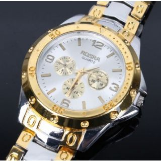 Brandedking Rosra mens golden silver watch