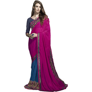Designer Blue and Pink embroidered georgette saree with blouse piece