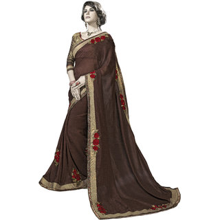 Designer Brown embroidered georgette saree with blouse piece