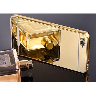 Mirror Back Cover Case Metal Frame Mi4i Gold