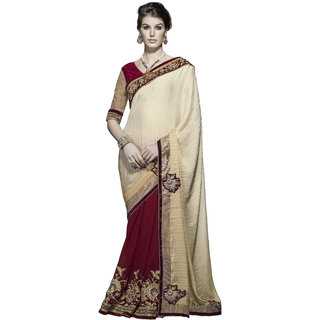 Designer Maroon and Beige embroidered georgette saree with blouse piece