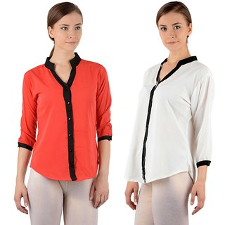 Raabta Womens Red And White Plain Shirt Set Of Two