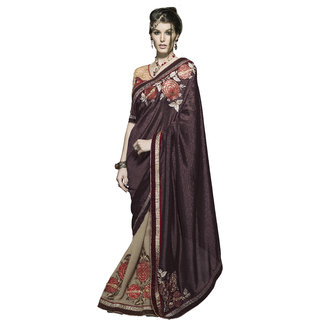 Designer Beige and Brown embroidered georgette saree with blouse piece