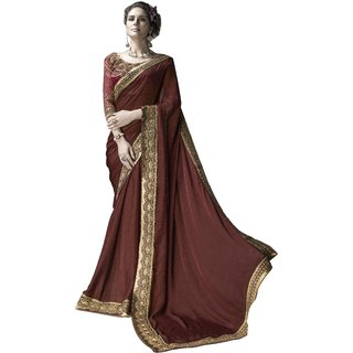 Designer Maroon embroidered georgette saree with blouse piece