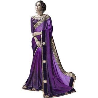 Designer Purple embroidered satin saree with blouse piece